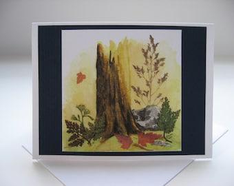 Watercolor Red Leaf Blank Notecard