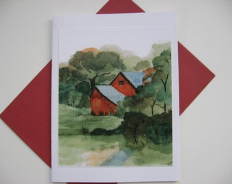 Watercolor Red Barn Notecard