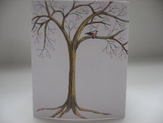 Spring Tree Color Pencil 4 Card Set