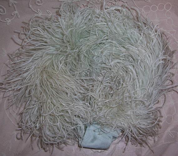 ANTIQUE/Flapper Aqua Ostrich FEATHER & Silk RIBBON Collar