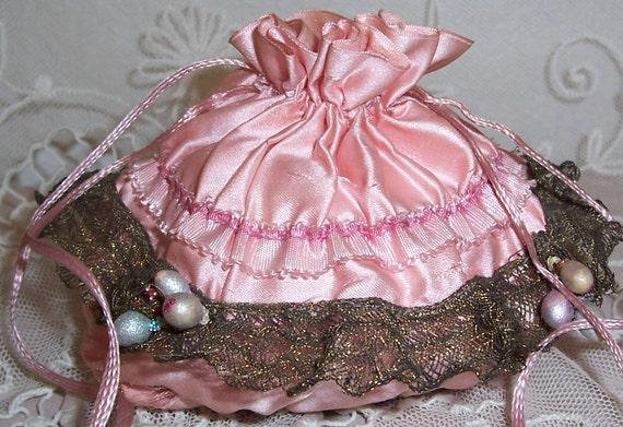 ANTIQUE/French Pink Silk RIBBON & Metallic Lace Powder Puff Purse/Bag w/ Mirror Bottom...SALE