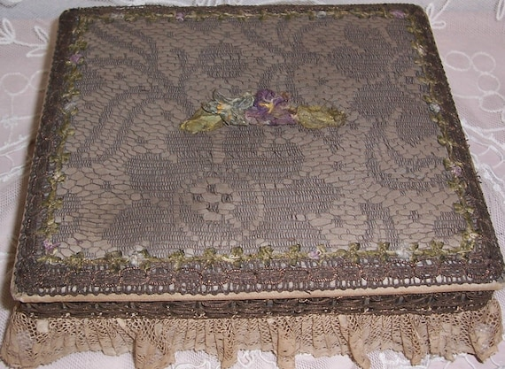 Reserved for Ivyribbon...ANTIQUE/French SILK & Metallic Lace Textile Box...RIBBON Rosette/Rose Trim