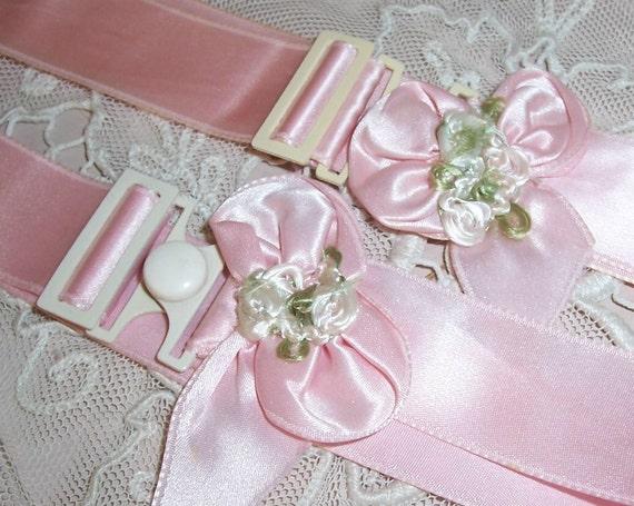 Pair VINTAGE Pink RIBBON Rosette/Roses trim Linen Band/Straps...SALE