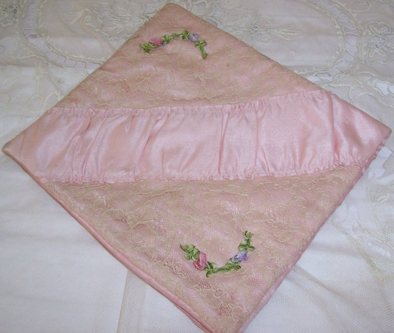 RESERVED for DNeilson2...ANTIQUE Pink SILK & Net Lace Hanky Case...Ribbon Roses/Rosettes Trim