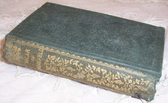 "1850 VICTORIAN Miniature Book...""The Vicar of Wakefield"" w/ Gilt Decorations"