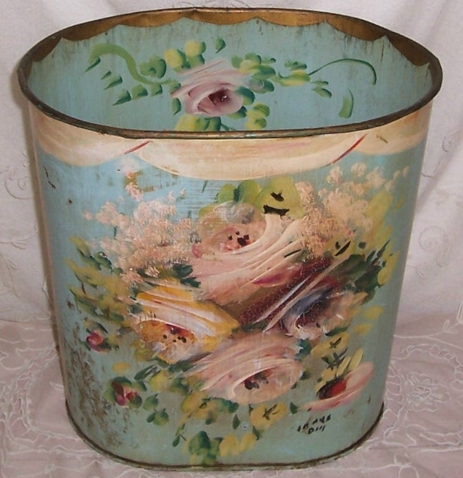 Aqua antique metal hand painted pink roses tole waste basket - Cool wastebaskets ...