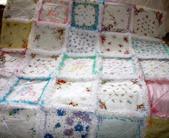 Hankie Handkerchief Rag Quilt By Zeedlebeez On Etsy