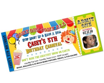 Clown Carnival Circus Big Top Birthday Party Invitations Favors