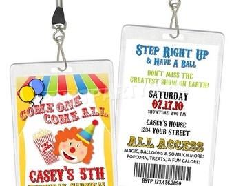 Clown Carnival Circus Big Top VIP Pass Birthday Party Invitations Favors