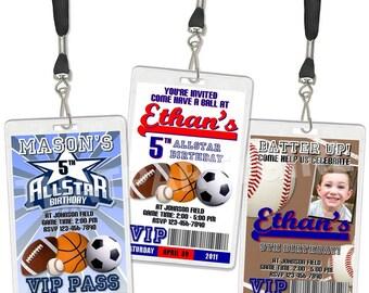 Sports VIP Pass Birthday Party Invitations Favors DIGITAL U Print