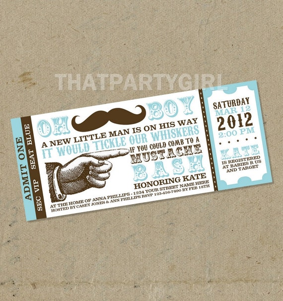 Mustache Bash Baby Shower Party Ticket  Invitations Favors - Digital U Print