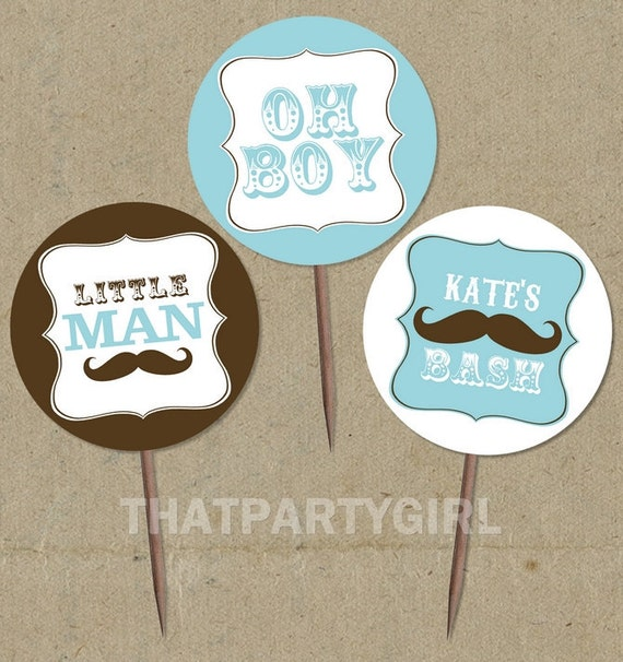 DIY personalized Mustache Bash Baby Shower Favor Tags Cupcake Toppers - digital U Print