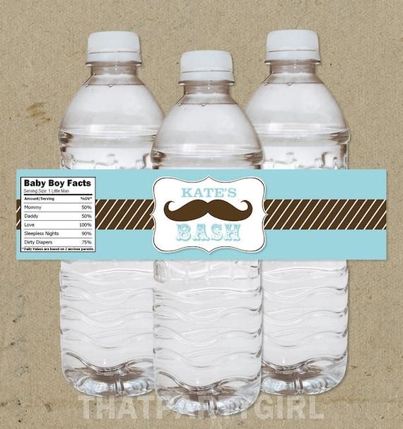 DIY Personalized Mustache Bash Baby Shower Favor Water Bottle
