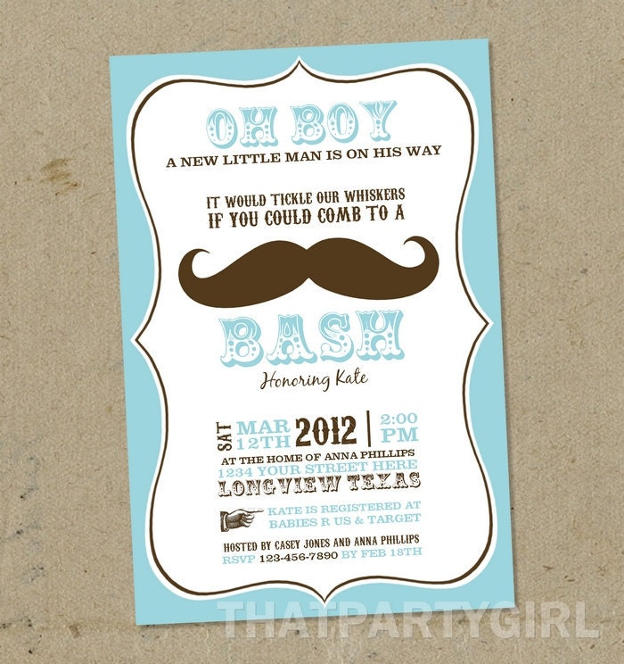 mustache bash baby shower invitations digital u print