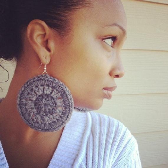 Crochet Earrings - Grey