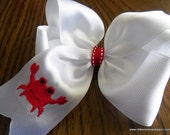 Ready to Ship Large white Crab hairbow Made with 2 inch ribbon