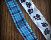 DESTASH Two paci clips Paw print Blue Plaid Clear plastic clips
