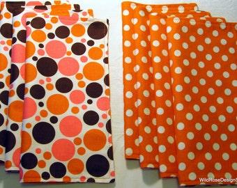BOGO sale on now! Polka Dot Orange, Pink, and Brown Reversible Cloth Napkins - Set of 2