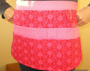 BOGO sale on now!  8-Pocket Utility Tool Gardening Apron // Pink & Red Floral // Size Small/Medium