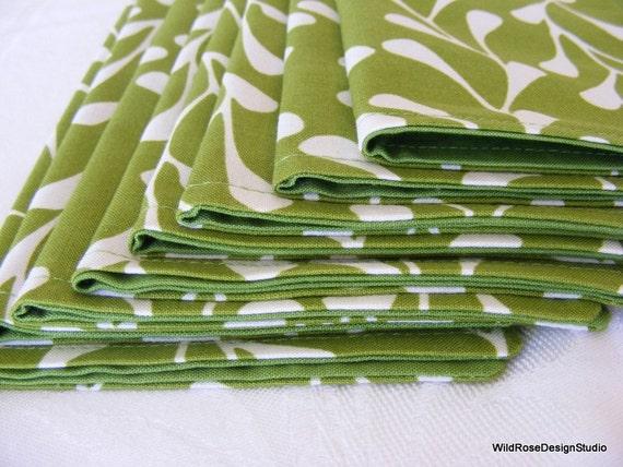Grassy Spring Green Vine Print Cloth Napkins - Set of 8