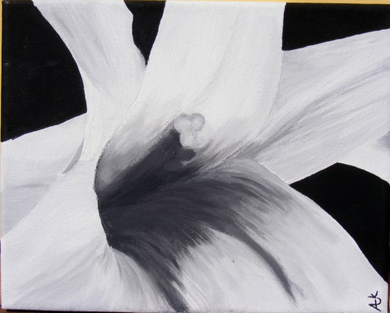 Black and White Lily - Original Acrylic Painting on Canvas