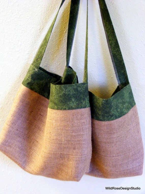 Set of 2 Burlap Grocery Shopping Bags with Leafy Dark Green Trim
