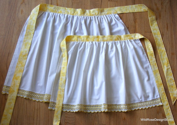 Mommy and Me Matching Half Aprons // Made from Vintage White & Yellow Crochet-Edged Pillowcases // Perfect for Mother's Day!