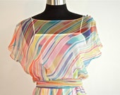 Designer Pastel Chiffon Illusion Rainbow Stripe Summer 70's Party Dress