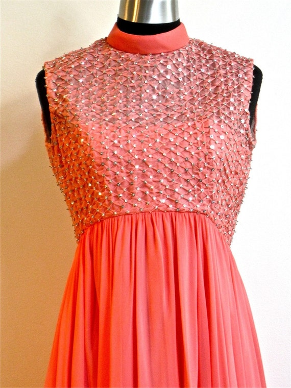 60s  Sophisticated Sequin Chiffon Dress