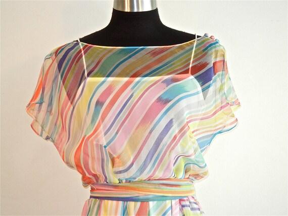 Designer Pastel Chiffon Illusion Rainbow Stripe Summer 70's Party Dress