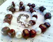 Red Wine Stone Faux Pearl Necklace n Earrings by Absolute Jewelry