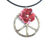 Teen Girl Jewelry Coca Cola Peace Sign Jewelry Tween Jewelry Rose Necklace Teenage Girl Gift Recycled Soda Can Jewelry - N65