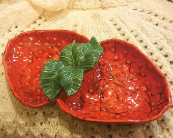 1950s California Pottery Divided Strawberry Dish SALE Items R25 Trending Now Strawberries
