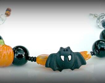 Kids Bat n Pumpkins Bracelet Gift Halloween Harvest Children Girl SALE Jewelry