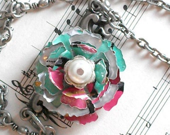 Recycled Soda Can Jewelry Art  Arizonza Tea Can Rose Necklace Chain Trending Jewelry R50 - N105
