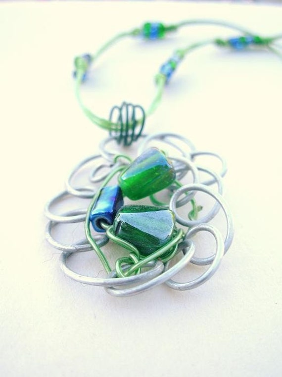 Teen Jewelry Glass Bead Wire Necklace Girl Gift