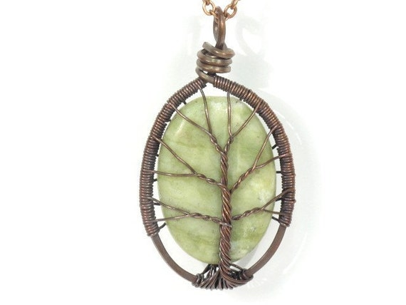 The Jade Stone Tree of Life Necklace in Antique Copper.  Large Size.