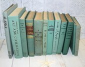 Mint Green Books Instant Library Collection Vintage Decorative Books Photography Props Teal Blue Green Aqua Turquoise
