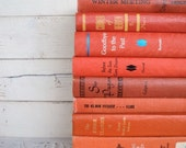 Orange Instant Library Book Collection by Color Vintage Decorative Books Photography Props