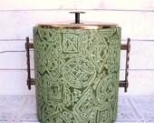 West Bend Thermo Serve Ice Bucket Mad Men Mid Century Modern Tiki Green Brocade Fabric Atomic Geometric Serveware