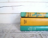 Reserved Teal & Mustard Books Instant Library Collection Decorative Books Photography Props Turquoise Books by the Foot Teal