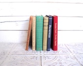 Small Books Instant Library Collection Books by Color Bundle Vintage Decorative Books Photography Props Red, Blue, Tan, Teal - sorrythankyou79