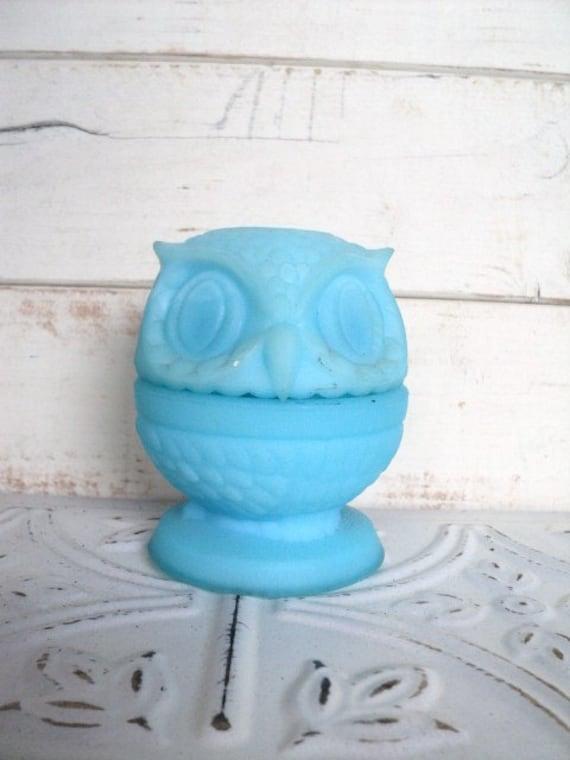 Fenton Fairy Lamp Light Owl Decorative Aqua Blue Milky Satin Glass Vintage