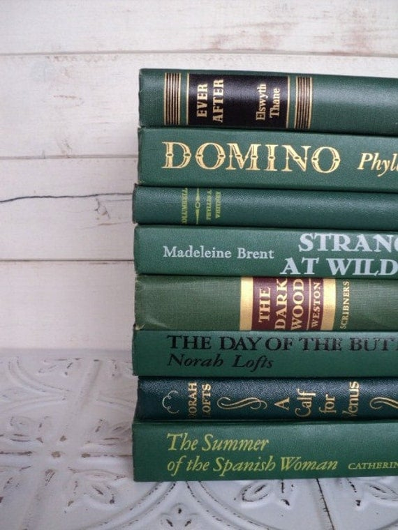 Dark Green Books Instant Library Collection by Color Photography Props Vintage Decorative Books
