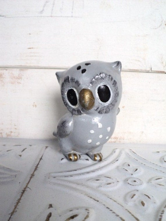 Josef Originals Gray Owl Figurine with Gold Beak & Black Eyes Vintage