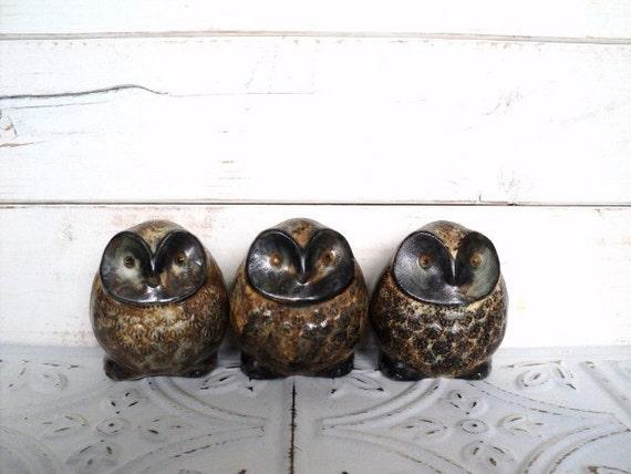 "Set of 3 Owl Figurines 3"" Triplets Folk Art Brown"