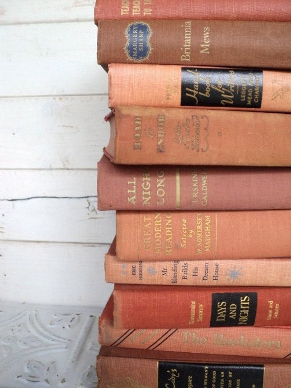 Faded Orange Instant Library Book Collection by Color Vintage Decorative Books Photography Props pink Faded Orange Books Shabby Chic coral