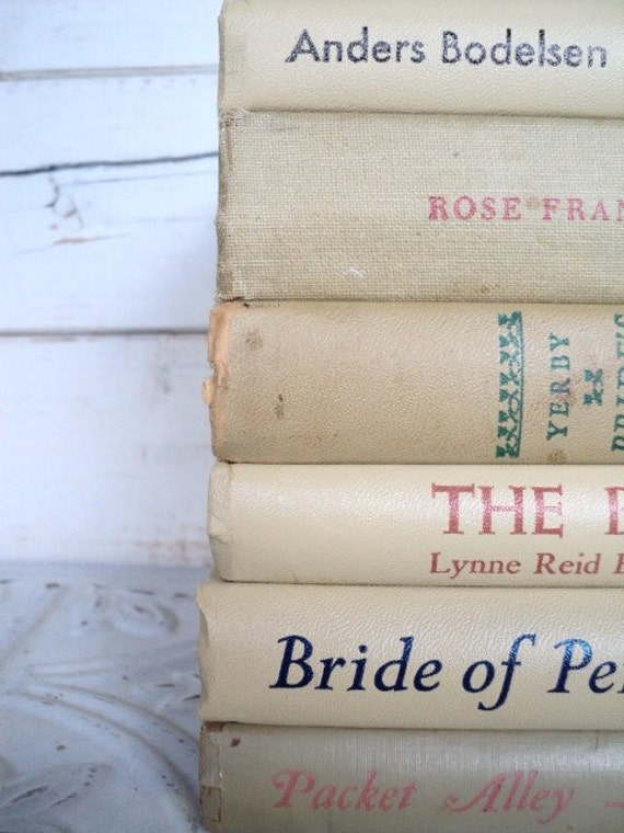 Tan Books Instant Library Collection Vintage Decorative Book Bundle Photography Props Brown Shabby Chic