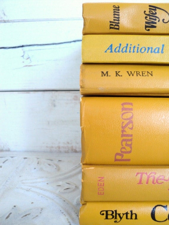 Mustard Yellow Books Vintage Decorative Books Instant Library Collection Photography Props Gold, Golden, Ochre