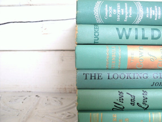 Teal Green Books Instant Library Collection by Color Photography Props Vintage Decorative Books Sea Glass